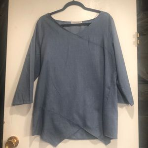 MISSLOOK Chambray Color pullover Top size large